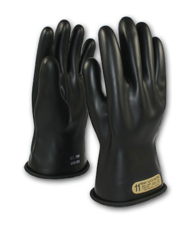 Class 00 Black Insulating Gloves 11""