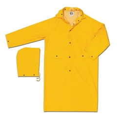 "Classic, .35mm PVC/Poly, 49"" Rain Coat w/ Detachable Hood from MCR Safety"