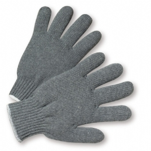 Hvy. Weight String Knit Gray Poly/Cotton Glove from West Chester