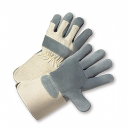Gunn Pattern Leather Plam Gloves w/ 4 1/2 Rubberized Gauntlet Cuff