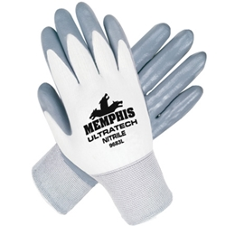 Memphis UltraTech® 15 Gauge 100% Nylon Shell Nitrile Palm and Fingers Dip from MCR Safety