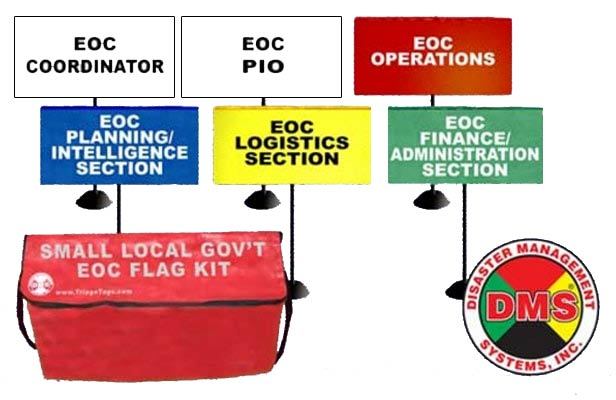 EOC Flag Kit for Small Local Government - 6 Flags from Disaster Management Systems