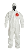 Tychem  4000 Coverall  w/ Hood, Elastic Wrists & Ankles SL127T  WH  00-M, SL127T  WH  00-L, SL127T  WH  00-XL, SL127T  WH  00-2X