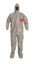 Tychem  6000 Coverall w/ Resp. Fit Hood, Elastic Wrists, Attached Socks TF169T GY 00-S, TF169T GY 00-M, TF169T GY 00-L, TF169T GY 00-XL