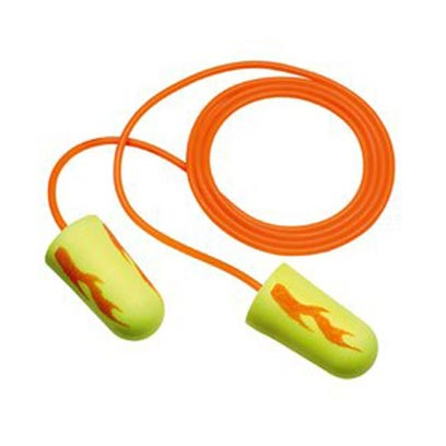 E-A-R Soft Ear Plugs Yellow Neon Blasts, Corded in Poly Bag - 200/Box from E-A-R by 3M