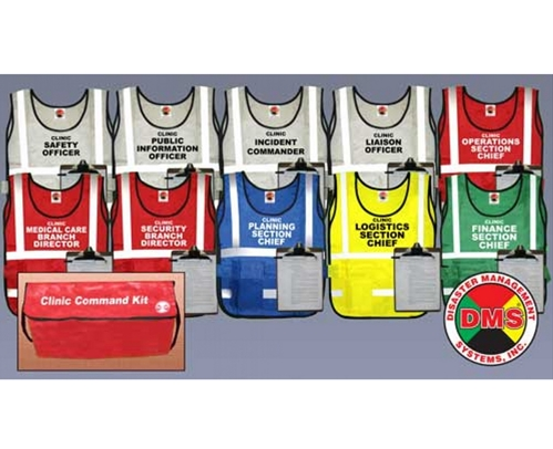 NIMS/ICS Clinic Command Vest Kit for Small Facility - 10 Position from Disaster Management Systems