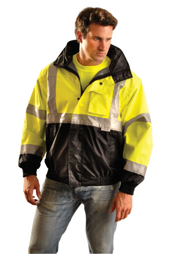 High Visibility Bomber Rain Jacket, Black Bottom