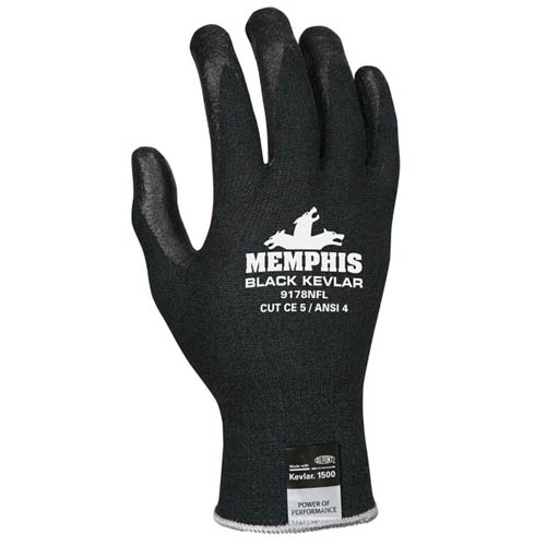 Memphis Black Kevlar Glove, 13 Gauge DuPont Kevlar/Synthetic fibers, nitrile foam palm/fingers from MCR Safety