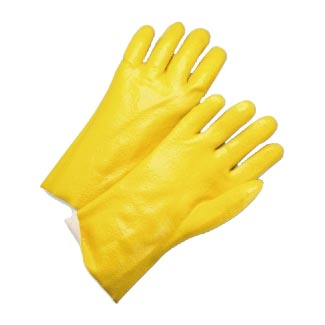 "12"" Yellow Semi Rough Jersey PVC Glove"