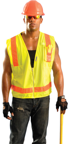 OccLux Surveyors Premium Mesh Solid Gloss Safety Vest from Occunomix