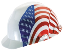 V-Gard Patriotic Dual American Flag Hard Hat from MSA