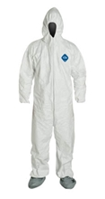 Tyvek 400 Coverall w/ Attached Resp. Fit Hood & Boots, Elastic Wrists from DuPont