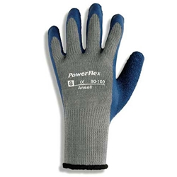 PowerFlex Latex Glove, Blue Rubber Coating 80-100-7, 80-100-8, 80-100-9, 80-100-10