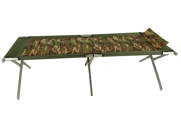 Steel Army Cot w/ Camo Pad and Pillow from Blantex