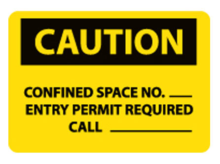 OSHA Signs - Caution Confined Space No.___ from National Marker