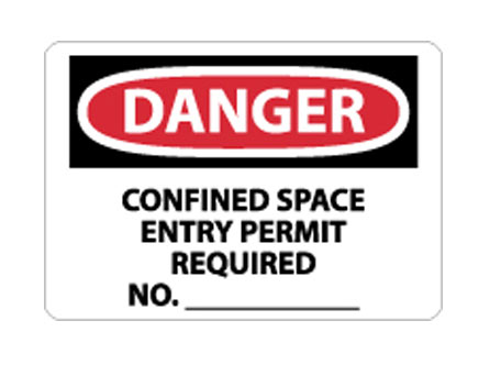 OSHA Sign - Danger Confined Space Entry Permit Required from National Marker