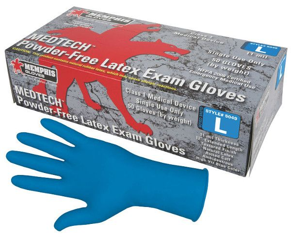 "Med+Tech Disposable Medical Grade Latex Gloves, 11 Mil, 12"" from MCR Safety"