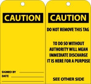 """Caution"" Accident Prevention Tag from National Marker"