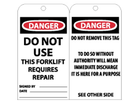 Accident Prevention Notice Tags from National Marker