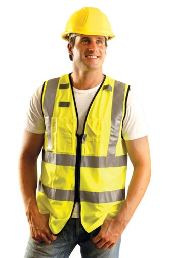 Solid Dual Stripe Full Surveyor Vest w/ Zipper from Occunomix