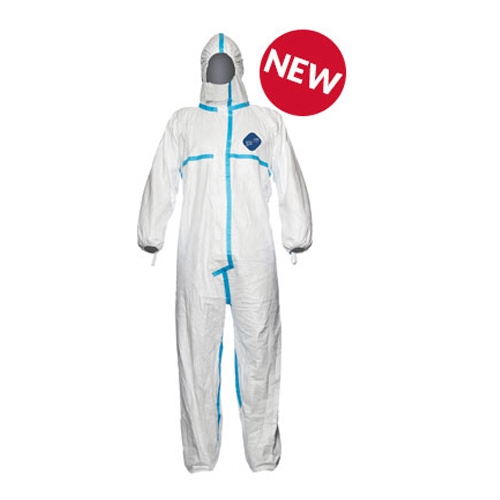 Size S Robust yet Lightweight Chemical Protective Clothing with Hood Type 5-B and 6-B DuPont Tyvek 500 Xpert Category III White