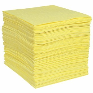HazMat Absorbent Pads Yellow HeavyWeight FineFiber from Spilltech
